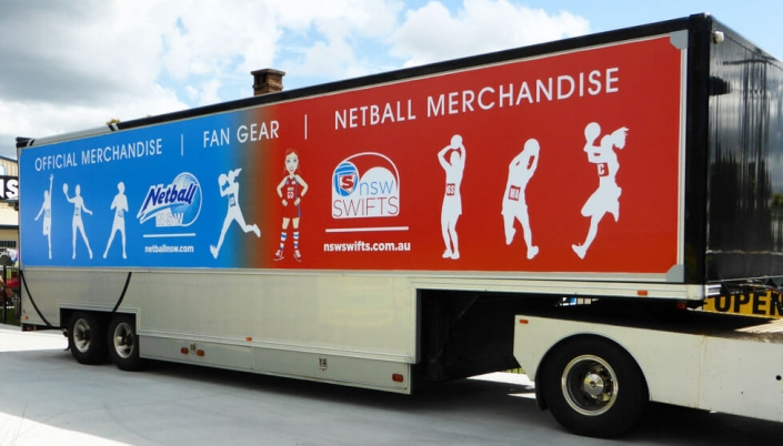 nsw swifts netball merchanise truck wrapped in truckskin graphic