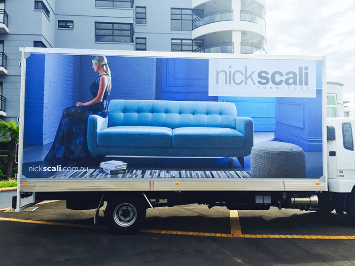 nick scali advertising truck wrapped in truckskin graphic