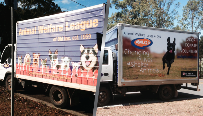 Before and after shot of Animal Welfare League Queensland truck wrapped in truckskin graphic