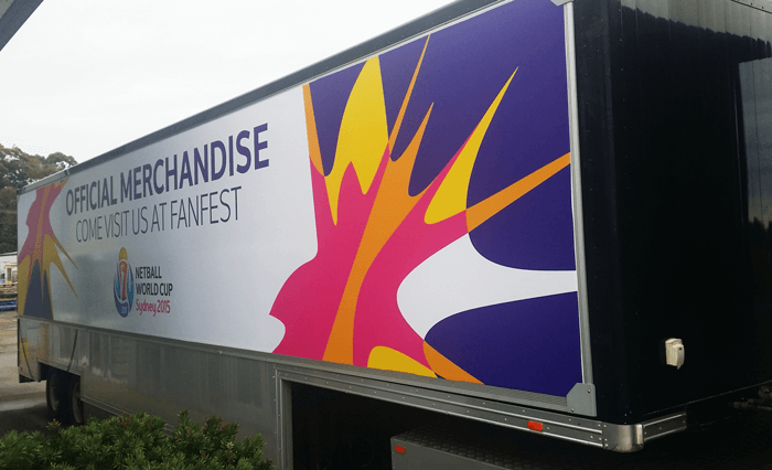 netball world cup fanfest merchandise truck wrapped in truckskin graphic