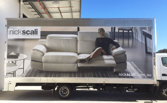 nick scali furniture truck wrapped in truckskin graphic