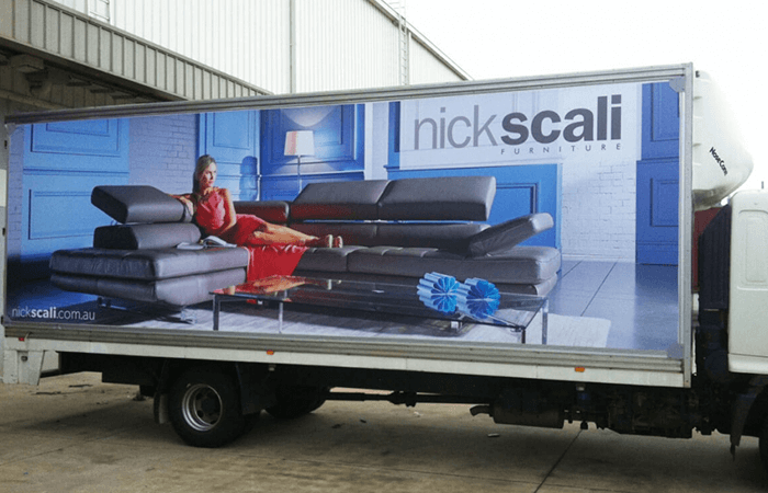 nick scali truck wrapped in truckskin graphic
