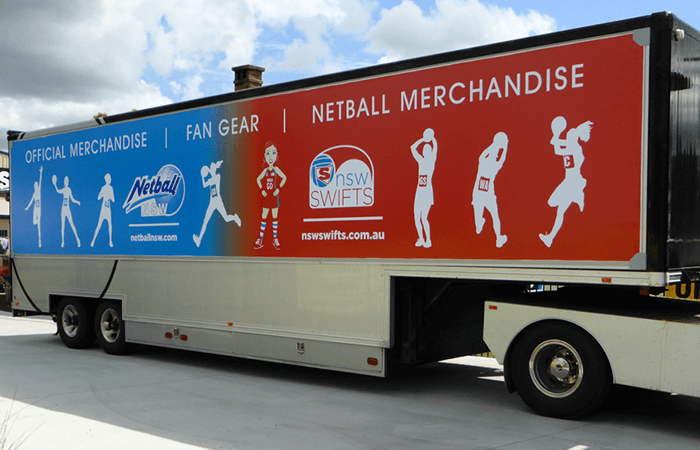 nsw swifts advertising truck wrapped in truckskin graphic