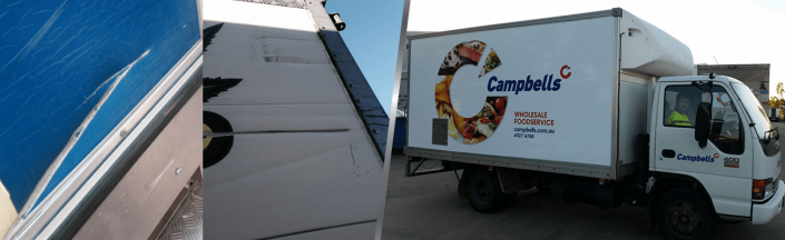 before and after image of campbells truck with and without truckskinz advertising wrap