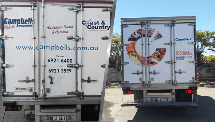 before and after image of the back of a campbells truck with and without truckskinz advertising wrap