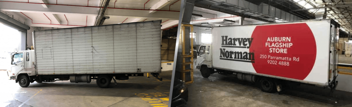 before and after image of harvey norman truck with and without truckskinz advertising wrap